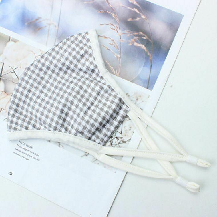 Gray & White Check Mask