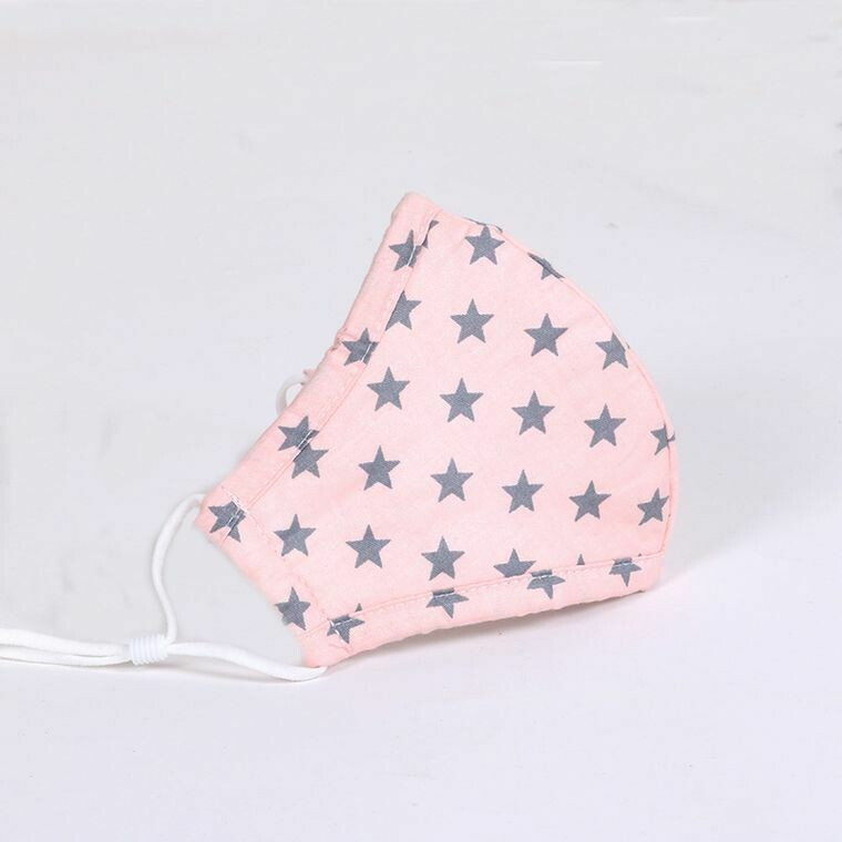 Pink w Gray Star Kids Mask