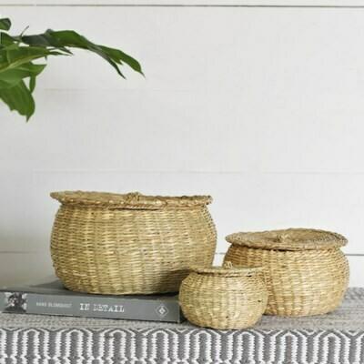 Lg Seagrass Basket w Lid