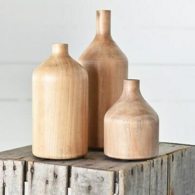 Sm Wood Bottle Vase