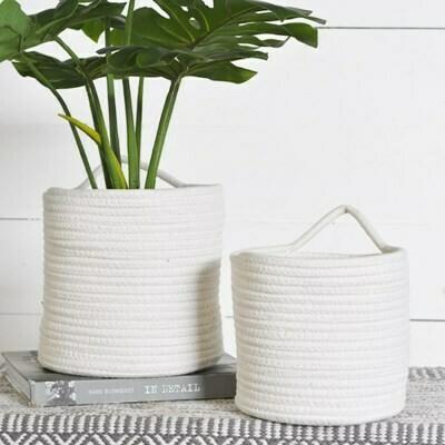 Sm White Weave Basket