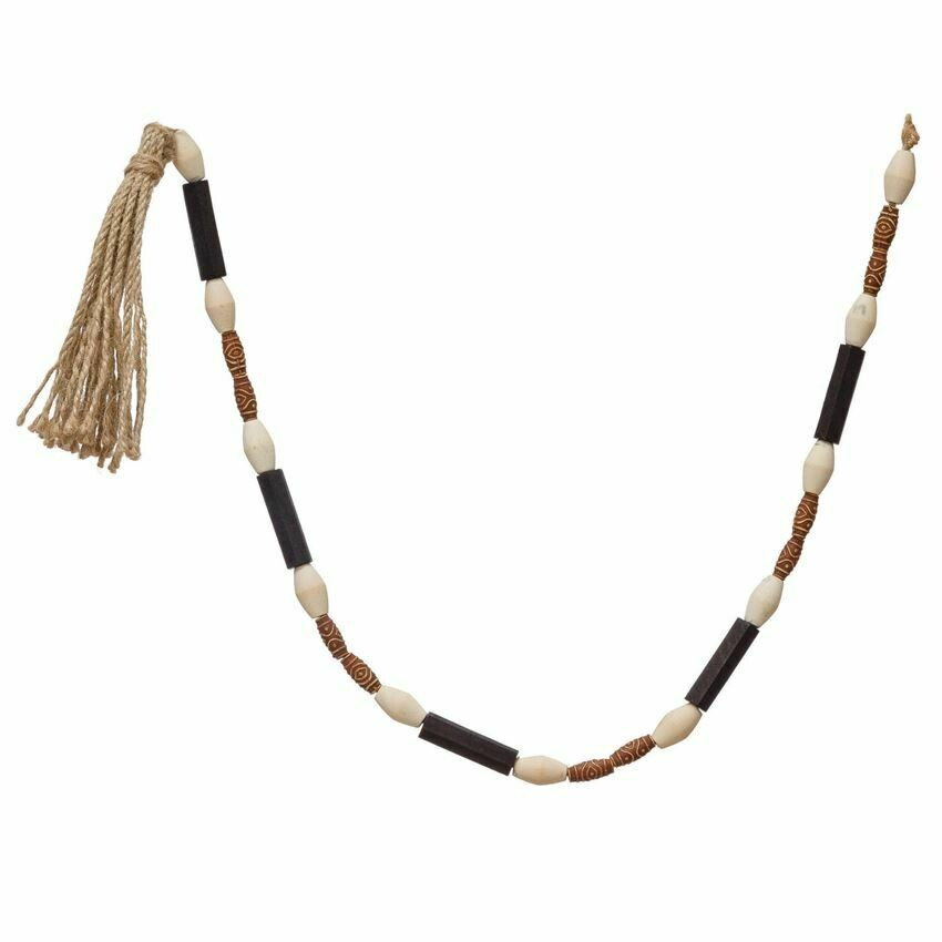 B&W Tribal Wood Bead Garland