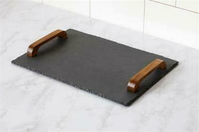 Slate Tray w Wood Handles