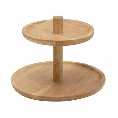 Sm 2-Tiered Wood Tray