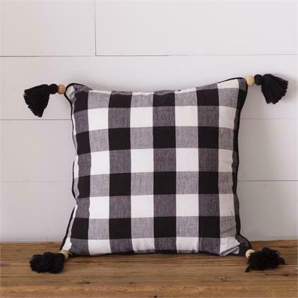 Black Plaid Beaded Pillow