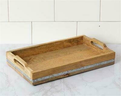 Wood Tray w Metal Stripe