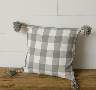 Gray Plaid Beaded Pillow