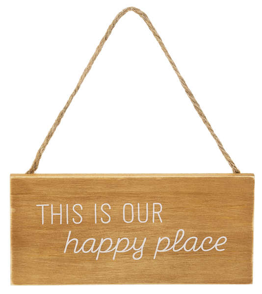 Happy Place Hanging Wooden Sign