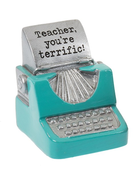 Terrific Teacher Typewriter Figurine