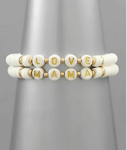 White Mama & Love Rubber Bead Bracelet