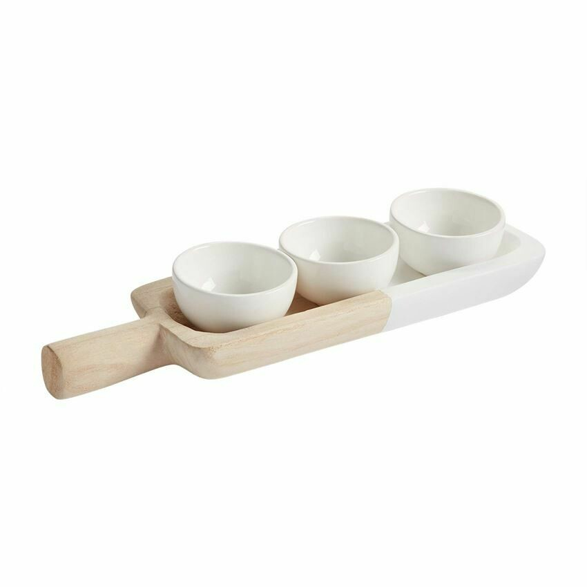 Paulownia Tray Ceramic Dip Bowl