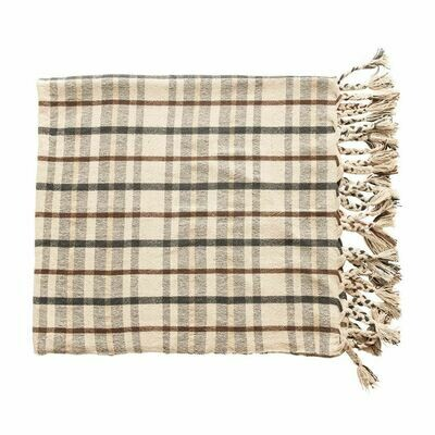 Gray & Brown Striped Throw
