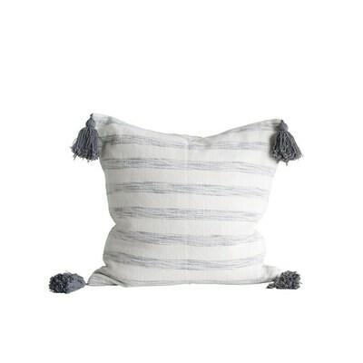 Gray Striped Tassel Pillow