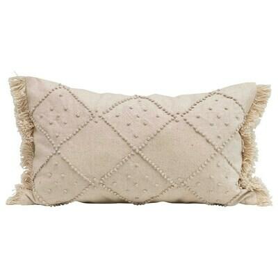 Cream Fringe Lumbar Pillow
