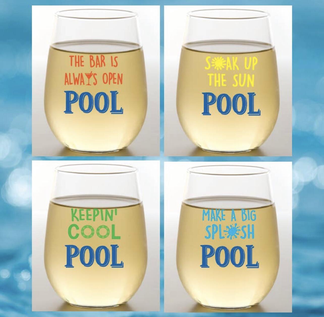 Set of 4 Pool Shatterproof Wine Glasses