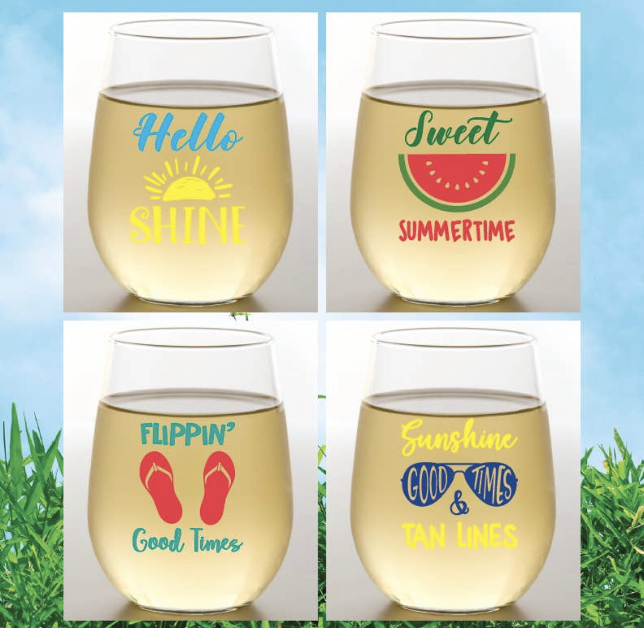 Set of 4 Summer Shatterproof Wine Glasses