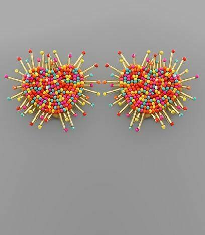 Multicolor Heart & Fan Bar Earrings