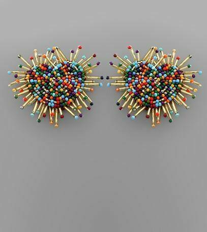 Dark Multicolor Heart & Fan Bar Earrings