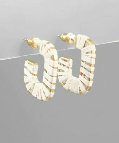 Ivory Raffia Wrapped Rectangle Open Hoops