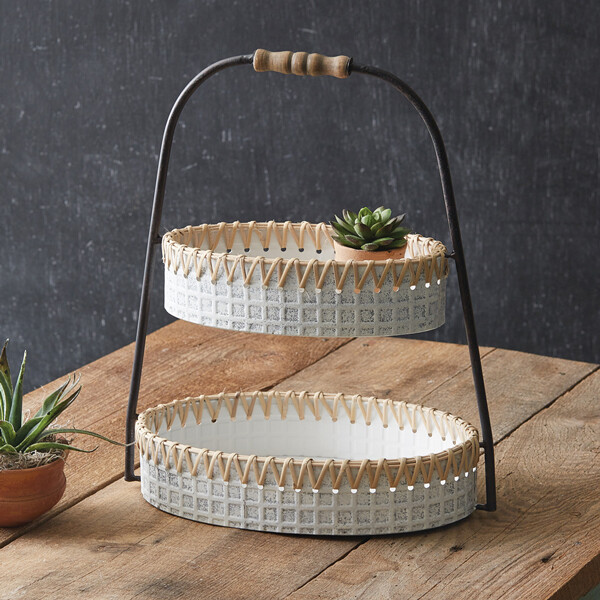 Whitewash Metal & Cane Two-Tiered Tray
