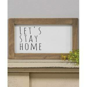 Let's Stay Home B&W Framed Sign