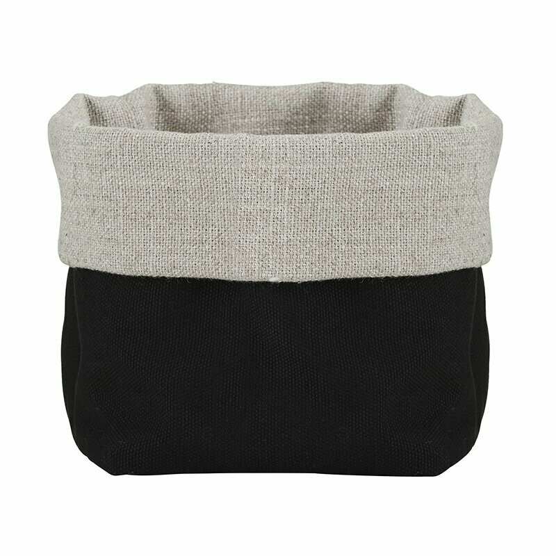 Gray & Black Linen Pouch