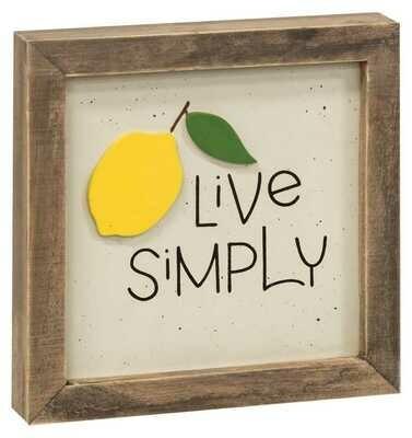 Live Simply Framed Lemon Sign