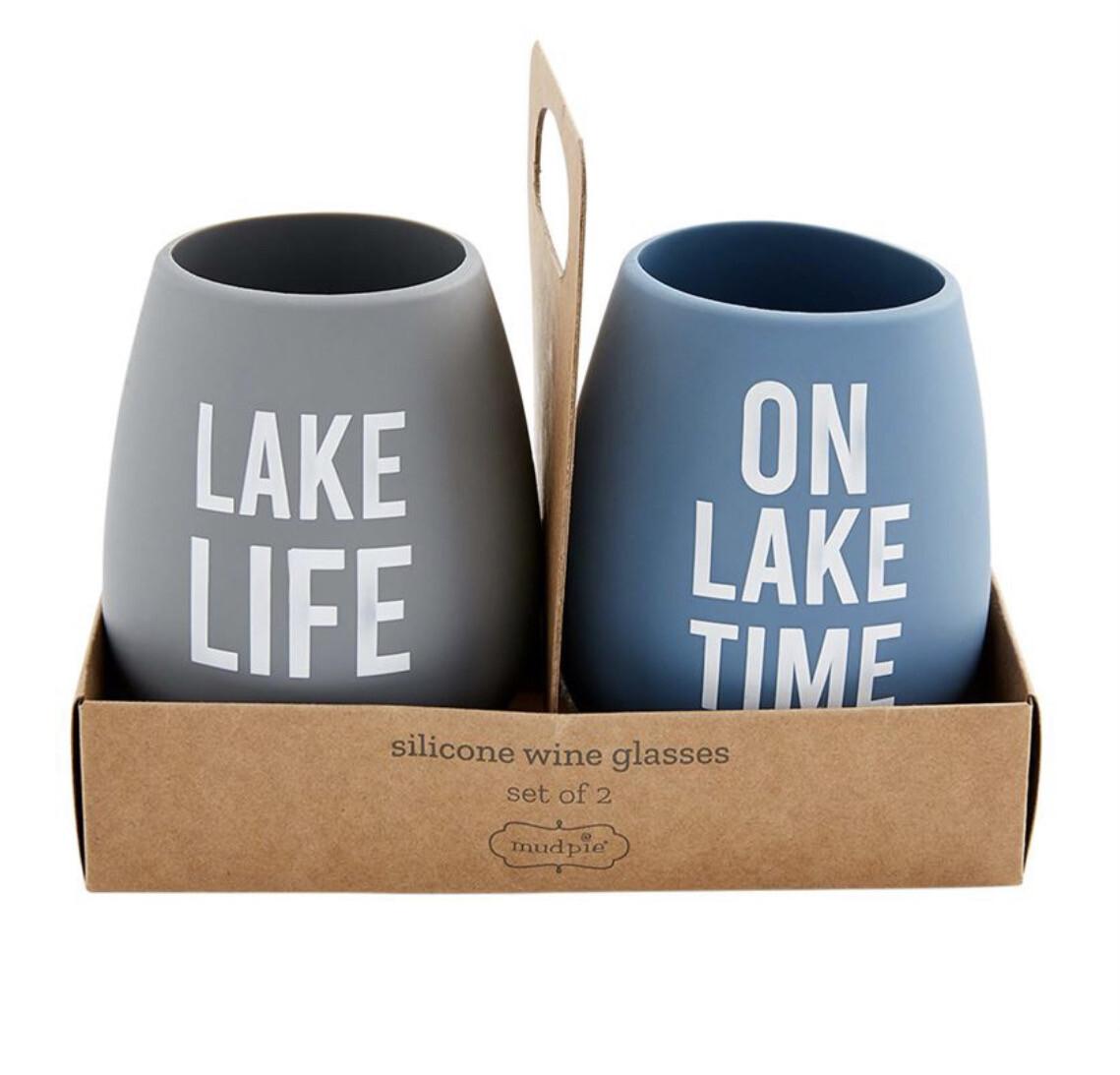 Set of 2 Lake Life Silicone Wine Glasses