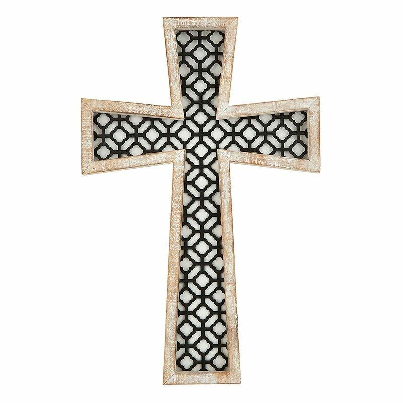 Arabesque Wood & Metal Cross