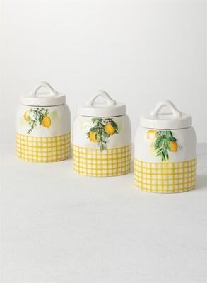 Set Of 3 Ceramic Lemon Canisters