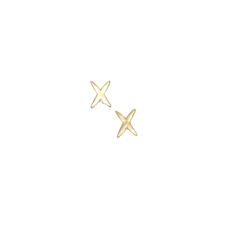 Gold X Stud Earrings