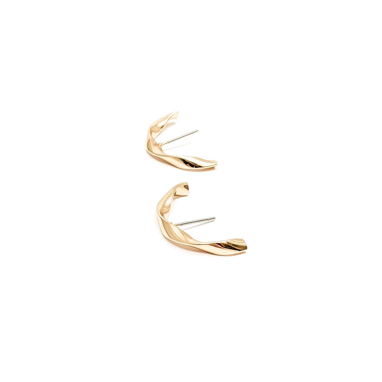 Gold Twist Stud Earrings