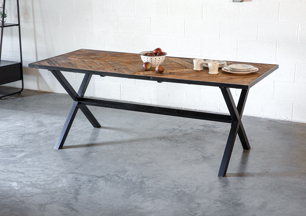 Wood & Metal Dining Table