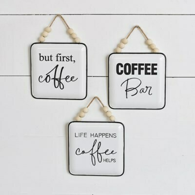 Coffee Helps Beaded Hanging Sign