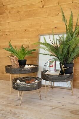 Lg  Round Perforated Metal & Wood Riser