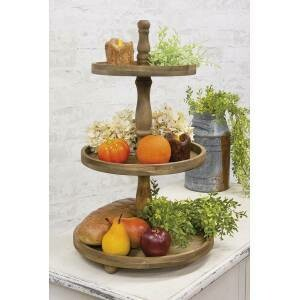 Distressed Brown Wooden 3-Tiered Tray