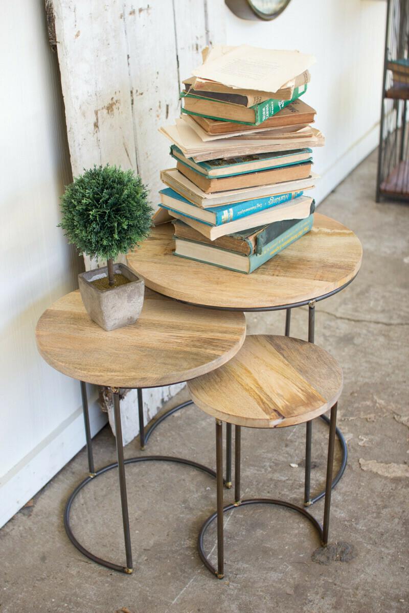 Sm Mango Wood Nesting Table