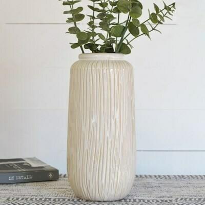 Tall White Line Pattern Vase
