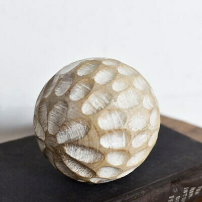 Lg Carved Wood Ball