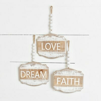 Hanging Beaded Wooden Love Sign