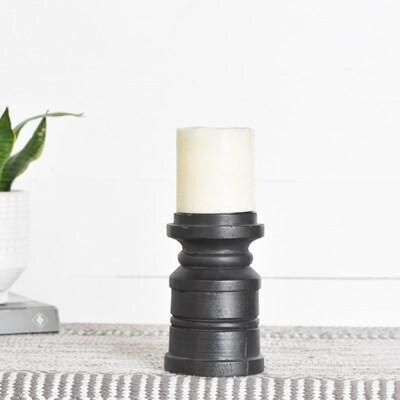 Sm Black Wooden Pillar Candle Holder