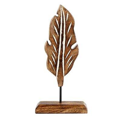 Sm Wood Carved Leaf Decor