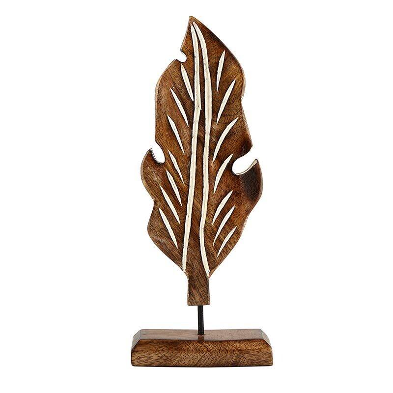 Lg Wood Carved Leaf Decor