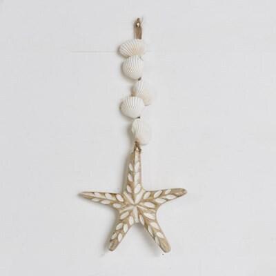 Hanging Carved Wood Starfish