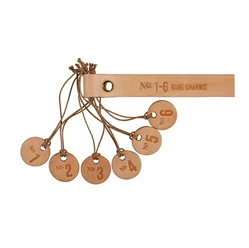 Numbers Leather Wine Charms