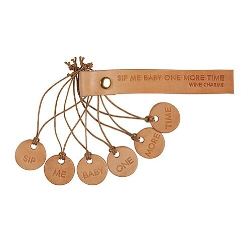 Sip Leather Wine Charms