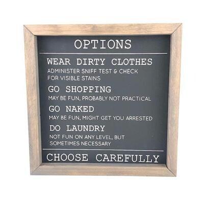 Laundry Options Framed Sign
