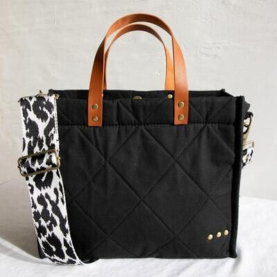 Quilted Black Crossbody Tote