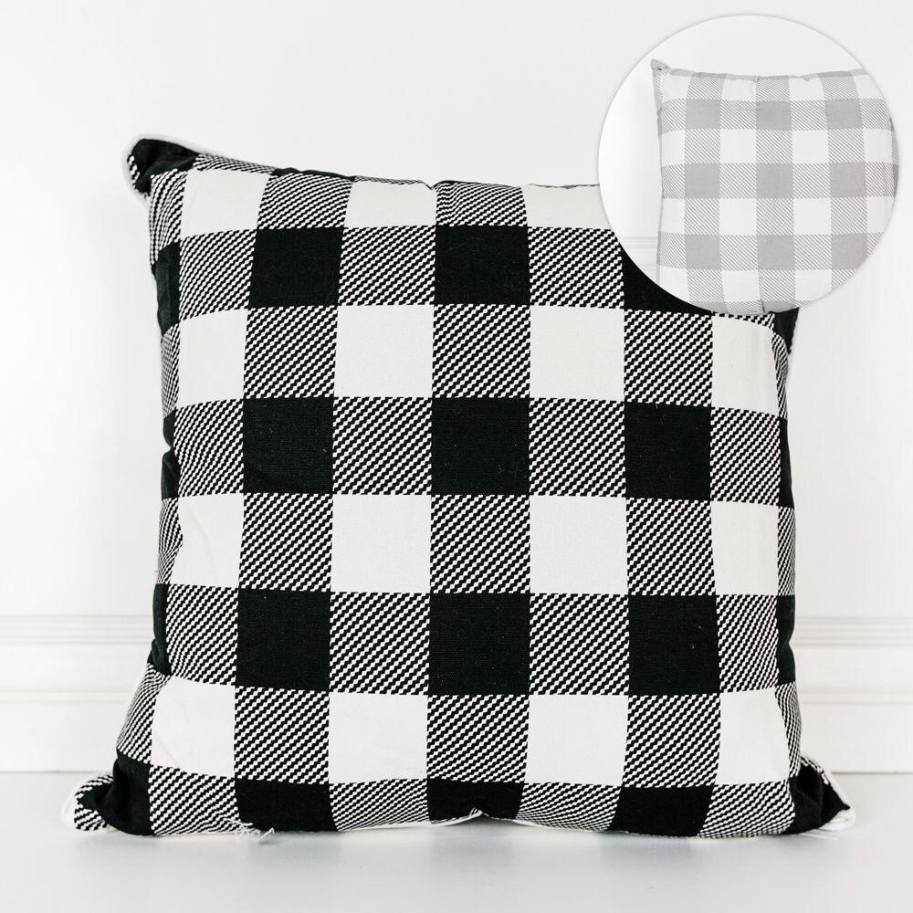 Lg Reversible Black & White Plaid Pillow