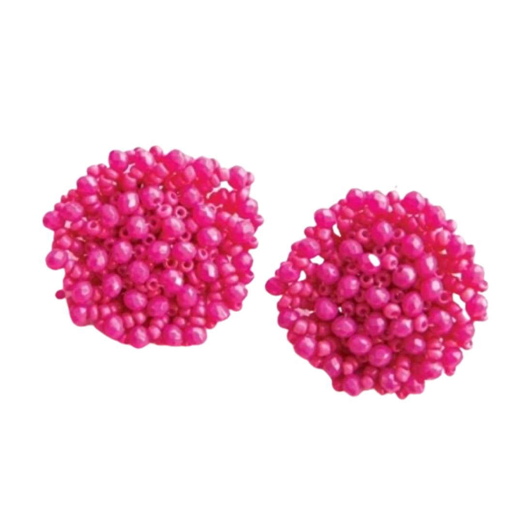 Pink Beaded Circle Earrings